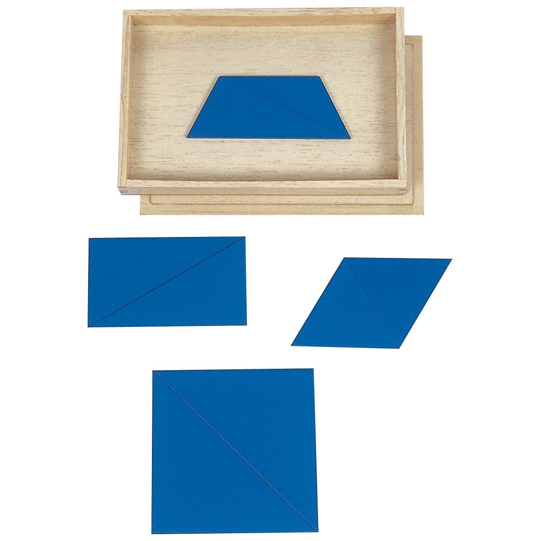 triangoli costruttori blu in scatola rettangolare