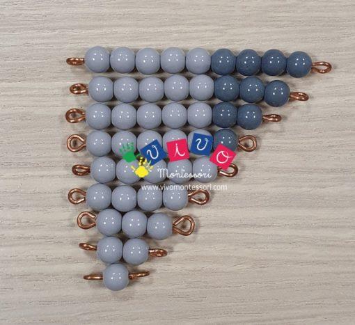 scala di perle grigie da 1 a 9